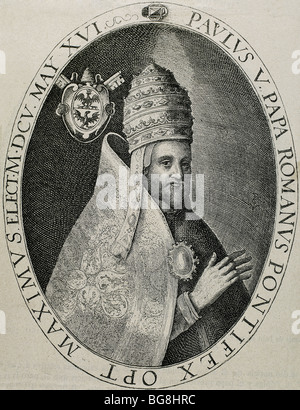 Paul V (1552-1621). Italian pope (1605-21), named Camillo Borghese. Engraving by Crispin de Passe. - Stock Photo
