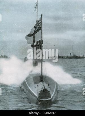World War I (1914-1918). The British submarine E-8. Sank a german destroyer in the North Sea. - Stock Photo