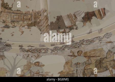 Roman Mausoleum in Centcelles. Detail Mosaics. Constanti. Catalonia. Spain. - Stock Photo