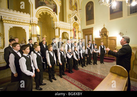 BUDAPEST-October 6: Members of the Boy Choir of Munkacs perform at an Greek Catholic Church (conductor: Volodimir - Stock Photo