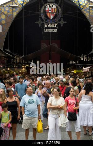 Central market Mercado de Boqueria on Las Ramblas Barcelona Spain - Stock Photo