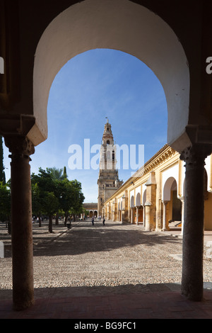view from the courtyard of the cathedral bell tower, encasing the older minaret, Cordoba, Andalusia, Spain - Stock Photo