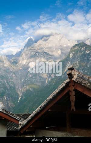 View across Tiger Leaping Gorge from the Tea Horse Guest House in Yacha Village - Stock Photo