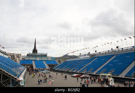 Empty grandstands and parade area at Edinburgh Military Tattoo - Stock Photo
