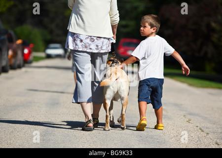 Woman and young boy walking with dog.  Gimli, Manitoba, Canada. - Stock Photo