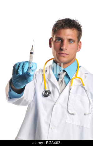 Doctor holding syringe isolated on a white background - Stock Photo