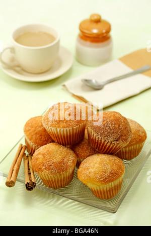 Cinnamon muffins. Recipe available. - Stock Photo