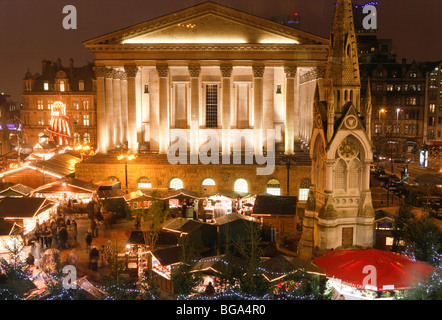 The German Market in Bimingham City Centre at Christmas. In front of the Town Hall. - Stock Photo
