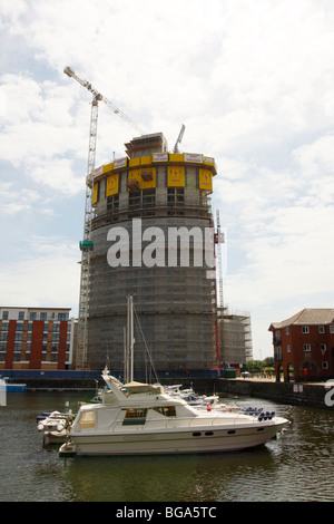 New Building, The Meridian Tower,  being constructed in Swansea Marina, West Glamorgan, South Wales, U.K. - Stock Photo