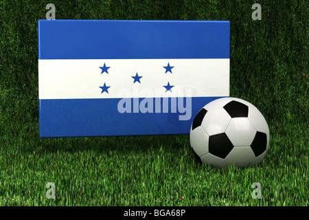 Flag of Honduras with soccer ballrender - Stock Photo
