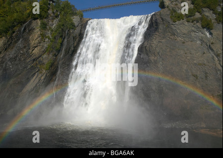 Montmorency Falls with rainbow, Quebec, Canada - Stock Photo