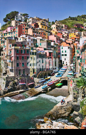 Riomaggiore is one of the five fishing villages along the Cinque Terre, Liguria , Italy on the Mediterranean Sea. - Stock Photo