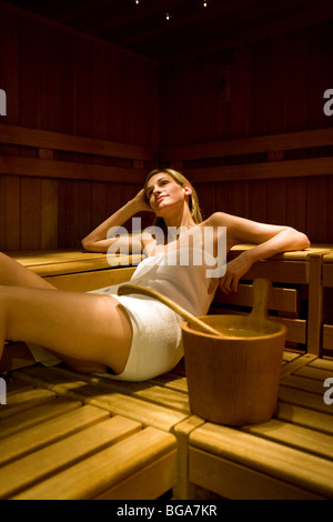 Europe, Italy, Alpi, Dolomiti, spa, girl, sauna, relax - Stock Photo