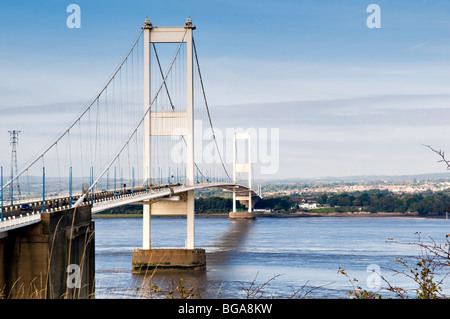 The Severn toll bridge crossing over the river severn from England looking towards Wales with traffic - Stock Photo