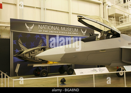Lockheed Martin F-22A Raptor front. National Museum of the United States Air Force. - Stock Photo