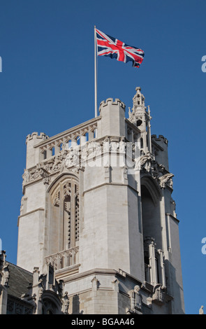 The Union flag flying above the new Supreme Court of the United Kingdom in London, UK. - Stock Photo