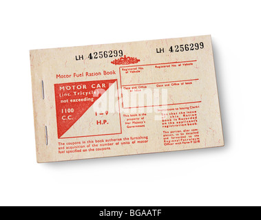 Motor Fuel Ration Book issued during the 1973 fuel shortage crisis to key workers in England, in anticipation of - Stock Photo