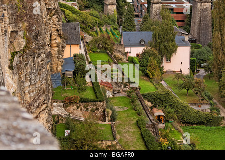 View from castle on old Luxembourg City - Stock Photo