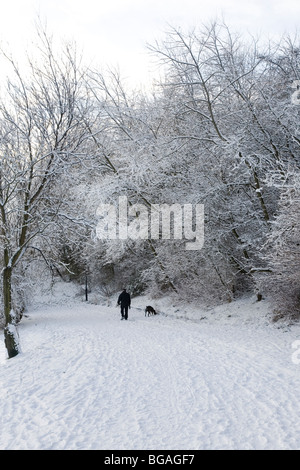 A man walks his dog on a snowy day in the United Kingdom - Stock Photo