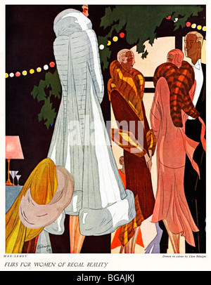 Furs For Women Of Regal Beauty, Autumn 1929 English magazine Leon Benigni illustration of fur coats designed by - Stock Photo
