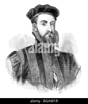 Black and White Illustration; Portrait of James Stewart, 1st Earl of Moray, or Murray - Stock Photo