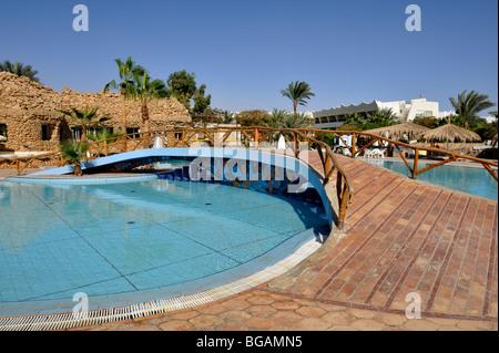 Swimming pool 'Hilton Nuweiba Coral Resort', Nuweiba, Sinai, Egypt - Stock Photo