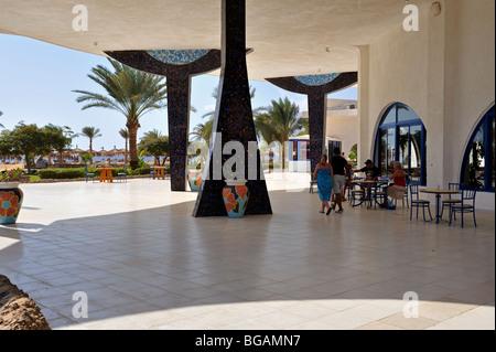 Outdoor terrace and dinning area 'Hilton Nuweiba Coral Resort', Nuweiba, Sinai, Egypt - Stock Photo