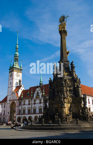 Holy Trinity Column and town hall at Horni namesti square in Olomouc Czech Republic Europe - Stock Photo
