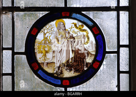 Medieval Flemish stained glass, St. Mary the Virgin Church, Fawsley, Northamptonshire, England, UK - Stock Photo