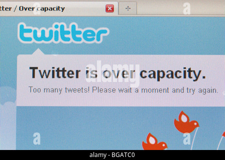 twitter is over capacity screenshot of website for editorial use only - Stock Photo
