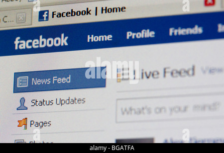 screenshot of logged in home page of facebook social networking website for editorial use only - Stock Photo