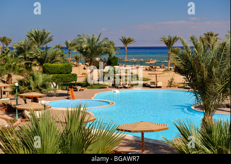 'Nuweiba Village' Resort pool and beach, 'Red Sea', Gulf of Aqaba, Sinai, Egypt - Stock Photo