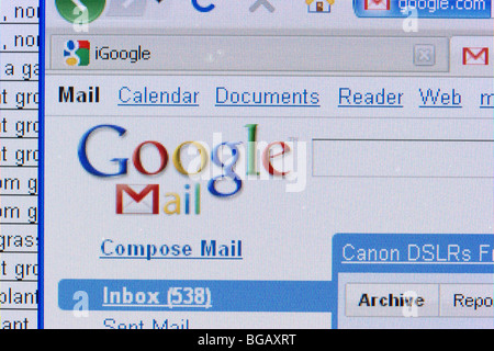 screenshot of googlemail website with spreadsheet in the background for editorial use only - Stock Photo