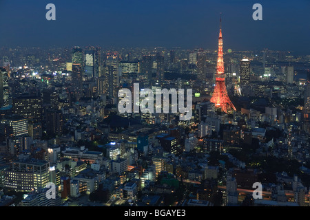 Japan, Honshu Island, Aerial View of Tokyo from Roppongi Tower - Stock Photo