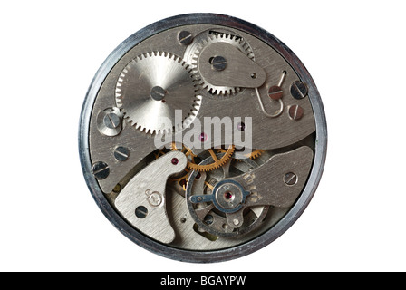 old watch - the device. The internal mechanism of watch - a photo close up - Stock Photo