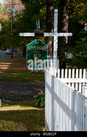Applegate B&B,Typical Berkshires Village,Clapboard architecture,Fall Autumn Colours,Colors,Berkshire Hills, Massachusetts,USA - Stock Photo