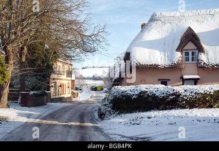 Winter in the village of Moulton near Newmarket, Suffolk UK - Stock Photo