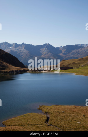 Switzerland. Canton Tessin. Val Piora. Lake of Tom. - Stock Photo