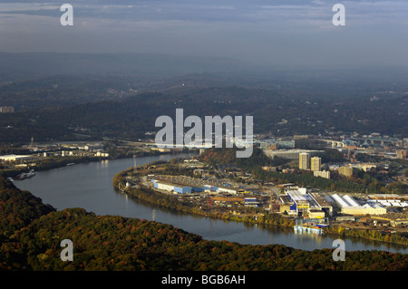Aerial View of Moccasin Bend in the Tennessee River and the City of Chattanooga Tennessee - Stock Photo