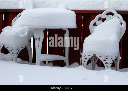 ... Snow Piled On Outdoor Furniture   Stock Photo