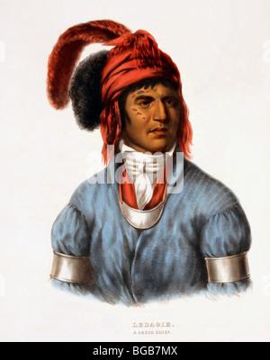 Ledagie - A Creek Indian Chief, 1843 - Stock Photo