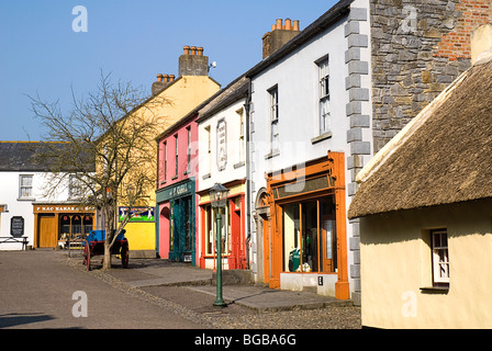 Ireland, County Clare, Bunratty Folk Park, The Village Street denoting life in 19th Century Ireland. - Stock Photo