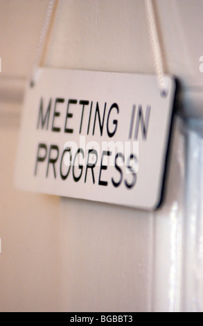 meeting in progress sign vector door sign stock images royalty