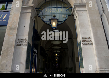 Entrance to the Royal Opera Arcade off the Haymarket, London W1 UK - Stock Photo