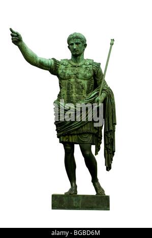Bronze statue of emperor Caesar Augustus on Via dei Fori Imperiali, Rome, Italy - Stock Photo