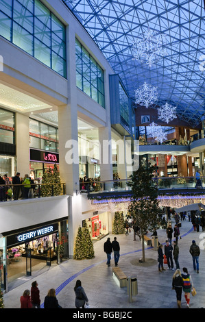 Victoria Square shopping centre, Belfast, with Christmas decorations and lights. - Stock Photo