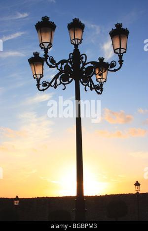 Old-fashioned lamp post, Medina-Sidonia, Cadiz, Spain - Stock Photo
