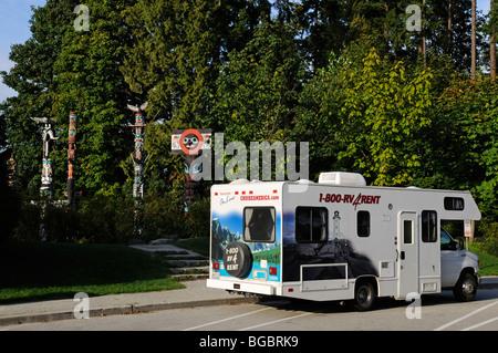 Camper, Stanley Park, Vancouver, British Columbia, Canada - Stock Photo