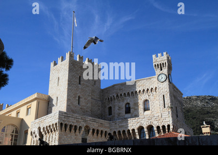 Prince's Palace with gull, Principality of Monaco, Cote d'Azur, Europe - Stock Photo
