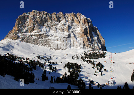Ski piste at Santa Cristina, Selva, Langkofel mountain, Sella Ronda, Val Gardena, South Tyrol, Italy, Europe - Stock Photo